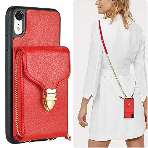 iPhone XR Wallet Case, JLFCH iPhone XR Zipper Wallet Leather Case with Card Slot Holder Closure Buckle Crossbody Chain Purse Handbag Strap for Apple iPhone XR 6.1 inch - Red