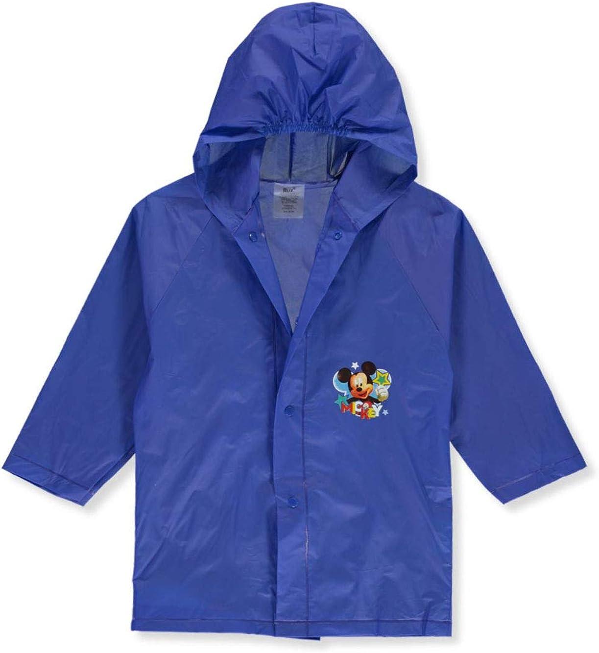 Mickey Mouse Boy's Very popular! sale Waterproof Hooded 4 Medium Raincoat Blue 5