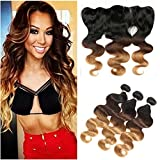 Tony Beauty Hair Dark Rooted #1B/4/27 Honey Blonde Ombre Peruvian Human Hair Bundles with Lace Frontal Closure 13x4 Body Wave Three Tone Ombre Hair Weaves with Frontal (14.16.18+12)