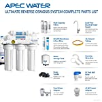 "APEC Water Systems Ultimate RO-Hi Top Tier Supreme Certified High Output Fast Flow Ultra Safe Reverse Osmosis Drinking… 17 Supreme quality: built with super long-lasting 100% US made filters, RO-Hi is the most durable system in the industry that lasts for decades. System is designed, engineered and assembled in USA to guarantee water safety & your health. High performance: Tested and certified by WQA to remove up to 99% of contaminants including arsenic, chlorine, lead, fluoride, heavy metals and 1000+ contaminants. Provides unlimited ultra-fresh, clean, great tasting water right at home Quick dispense: big 3/8"" fast-flow output design increases the flow rate of water from tank to faucet. The higher water flow will allow you to fill up a glass or pitcher of water much faster. Reduces wait time when drawing and filling large pots of water for making soups or beverages."