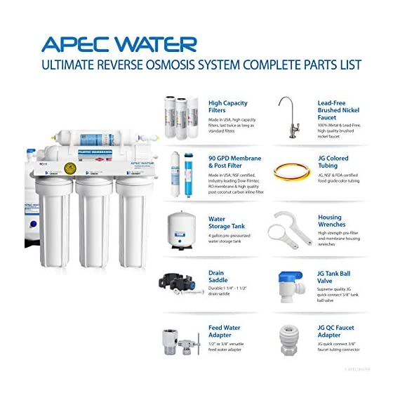 "APEC Water Systems Ultimate RO-Hi Top Tier Supreme Certified High Output Fast Flow Ultra Safe Reverse Osmosis Drinking… 7 Supreme quality: built with super long-lasting 100% US made filters, RO-Hi is the most durable system in the industry that lasts for decades. System is designed, engineered and assembled in USA to guarantee water safety & your health. High performance: Tested and certified by WQA to remove up to 99% of contaminants including arsenic, chlorine, lead, fluoride, heavy metals and 1000+ contaminants. Provides unlimited ultra-fresh, clean, great tasting water right at home Quick dispense: big 3/8"" fast-flow output design increases the flow rate of water from tank to faucet. The higher water flow will allow you to fill up a glass or pitcher of water much faster. Reduces wait time when drawing and filling large pots of water for making soups or beverages."