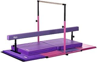 Nimble Sports Little Gym Deluxe - Adjustable Bar - Adjustable Balance Beam - 8ft Folding Mat - 6ft Landing Mat