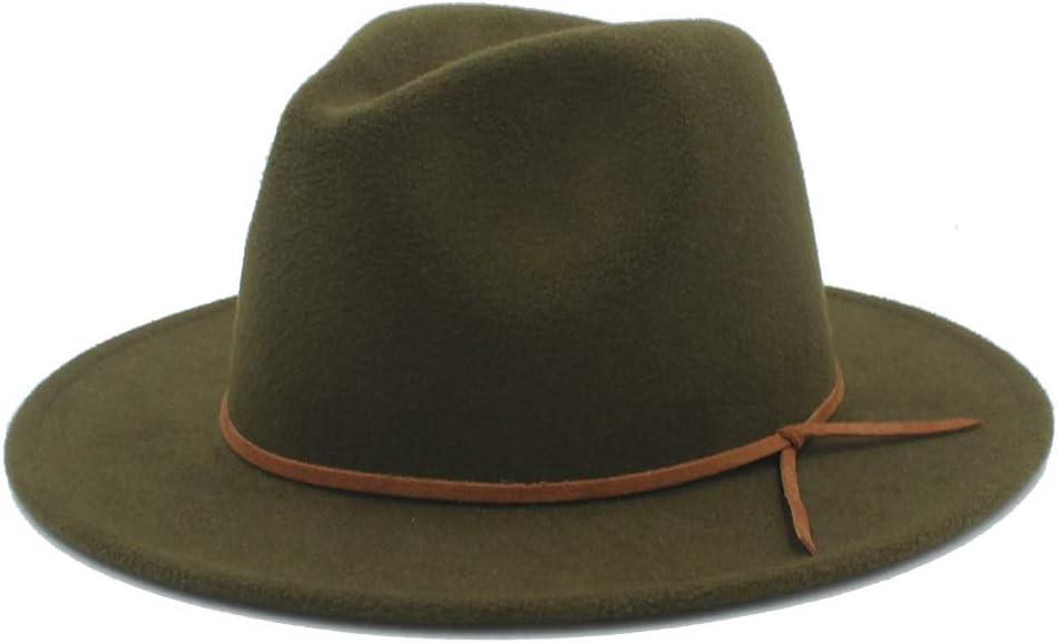 LHZUS Hats Men Women Winter Wool Fedora Hat Wide Brim Church Fascinator Hat Dance Party Hat Casual Jazz Hat Size 56-58CM (Color : Army Green, Size : 56-58)