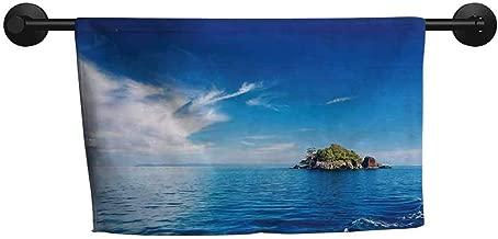 ZSUO Pattern Towel W 24 x L 8(inch) Custom Towel,Island,Small Island in Trat Archipelago,Thailand Reef Rock Diving Trip Sunny Day Landscape,Blue Green
