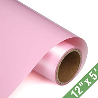 TransWonder Premium Heat Transfer Vinyl HTV Rolls for T Shirts 12in.x5ft, Iron on HTV Vinyl Compatible with Silhouette Cameo & Cricut (Rose Pink)