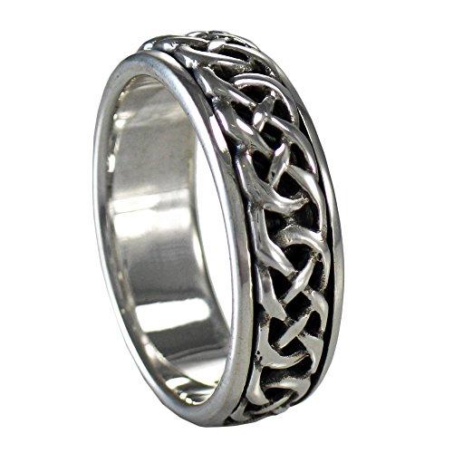 Moonlight Mysteries Silver Woven Celtic Knot Spinner Worry Ring for Men or Women (sz 4-15) sz 14