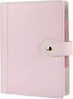 Harphia A5 Planner, A5 Planner Binder 6 Ring Binder softcover PU Personal Organizer with Snap Button Light Pink No Refills Included(A5 9.25 x 7.08'')