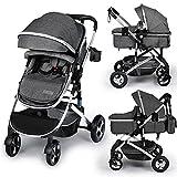 Kinder King 2 in 1 Convertible Baby Stroller, Folding High Landscape Infant Carriage, Newborn Reversible Bassinet Pram, Adjustable Canopy, Diaper Bag, Anti-Shock Toddler Pushchair Stroller, Dark Grey