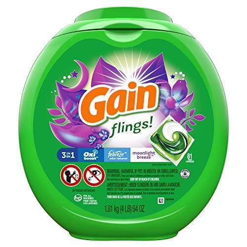 Gain flings! Laundry Detergent Pacs plus Aroma Boost, Moonlight Breeze Scent, HE...