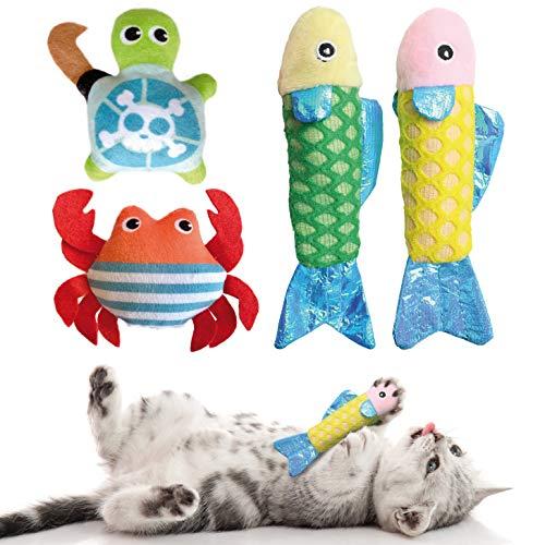 KaraLuna Katzenspielzeug Set mit Katzenminze I 4 hochwertige Plüschtiere mit Catnip