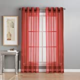 Window Elements Diamond Sheer Voile Extra Wide 56 x 90 in. Grommet Curtain Panel, Red