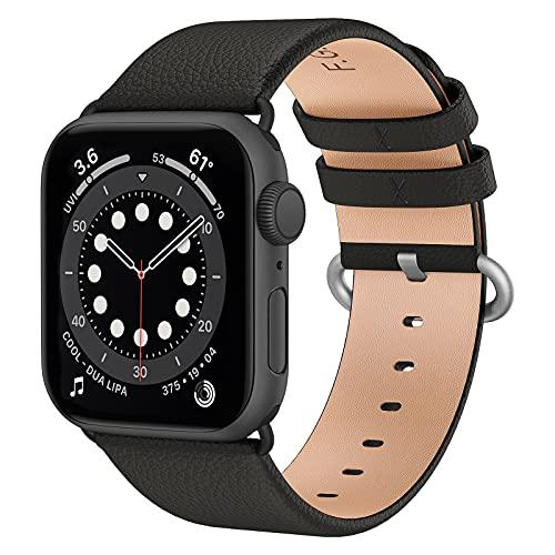 Fullmosa kompatibel mit Apple Watch Armband 44mm 40mm 42mm 38mm, Lederband Ersatzband für Damen Herren, Klassische Leder Armbänder für iWatch 6/SE/5/4/3/2/1 Armband,Schwarz + Rotguss Adapter 38mm/40mm