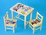 Set en bois table avec 2chaises pour chambre d'enfants. M13. Excellente idée cadeau.Complet en pin avec dessin à la main.