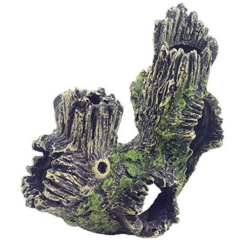 YAOHEHUA Guaridas Piedras hábitats Reptiles y Anfibios Artesanías de Resina pecera Peces camarones Refugio Ramas rotas raíces árboles hundidos