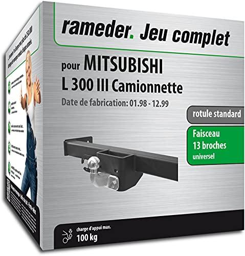 Rameder Pack, attelage rotule Standard 2 Trous + Faisceau 13 Broches Compatible avec Mitsubishi L 300 III Camionnette (161585-01813-1-FR).