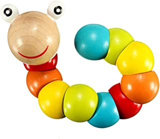 Anniston Kids Toys, Wooden Colorful Caterpillar Grasping Twisting Worm Insert Puzzle Educational Toy Puzzles & Magic Cubes...