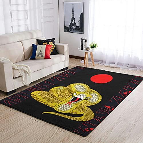 Hothotvery Alfombra japonesa con diseño de serpiente roja y sol, para suelos duros, 91 x 152 cm, color blanco