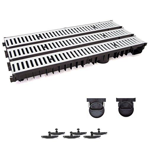 3m Entwässerungsrinne mit Dichtung Tiefe: 100 mm. Belastungsklasse A15. Stahlrost verzink.