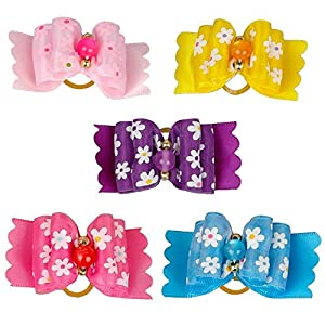 PET SHOW Beautiful Flowers Hair Bows for Dogs Ribbon Topknots Puppy Hair Grooming Accessories with Rubber Bands Mixed Color Pack of 20
