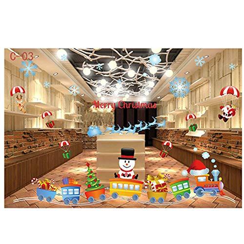 Sixcup Noël Autocollants Fenetre Fenetre NoëL Décoration DIY Mignonne Renne Père pour Noël Bonhomme de Neige Accueil Boutique Décorations Autocollant Amovibles Statique Autocollants (G)
