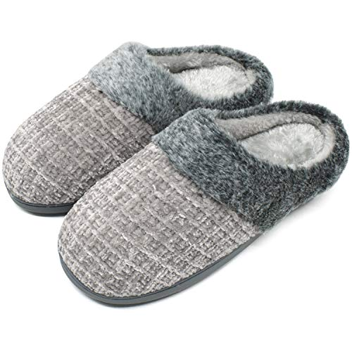 jiajiale Damen Winter Hausschuhe kuschelige Memory Foam Plüsch Warme Pantoffeln Chenille Hause rutschfest Schuhe Indoor&Door Grau EU40/41