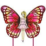 Cometa para niños y adultos fácil de volar, hermosas cometas de hadas de mariposa rosa con cola larga, ideal para el juego de playa, actividades exteriores para amigos y familia.