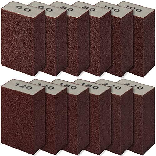 12 Pieces Sanding Sponges, GOH DODD Coarse Medium Fine Assortment Washable and Reusable Sanding Blocks 60 80 100 120 180 220 Grits Ideal for Wood Metal Wall Polish