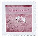 3dRose weiß Tauben, Hochzeit, Ringe, Schleife, pink