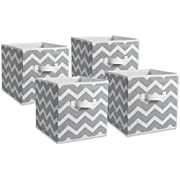 DII Foldable Fabric Storage Containers for Nurseries, Offices, Closets, Home Decor, Cube Organizers & Everyday Storage Needs, (11 x 11 x 11) Starburst Gray Set of 2