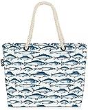 VOID Patrón de Peces del Mar del Norte Bolsa de Playa 58x38x16cm 23L Shopper Bolsa de Viaje Compras Beach Bag Bolso
