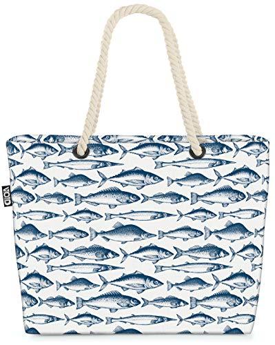 VOID Nordsee Fische Muster Strandtasche Shopper 58x38x16cm 23L XXL Einkaufstasche Tasche Reisetasche Beach Bag