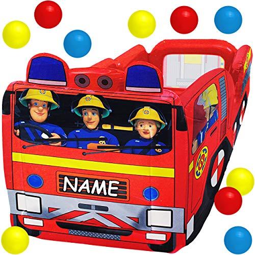 alles-meine.de GmbH 3 in 1: Bällepool / Kugelbad / Planschbecken - Feuerwehrmann Sam - Feuerwehrauto - inkl. Name - mit 10 Stück Bälle - 1 m - groß - eckig Wasser Pool aufblasbar..
