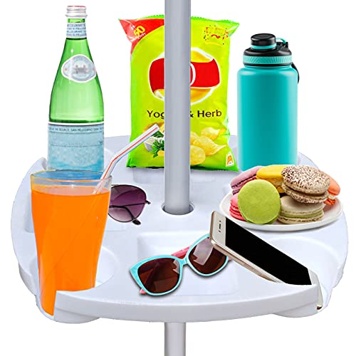 """AMMSUN 17"""" Beach Umbrella Table Tray with 4 Cup Holders, 4 Snack Compartments for Beach, Patio, Garden, Swimming Pool 17 Inch, White"""