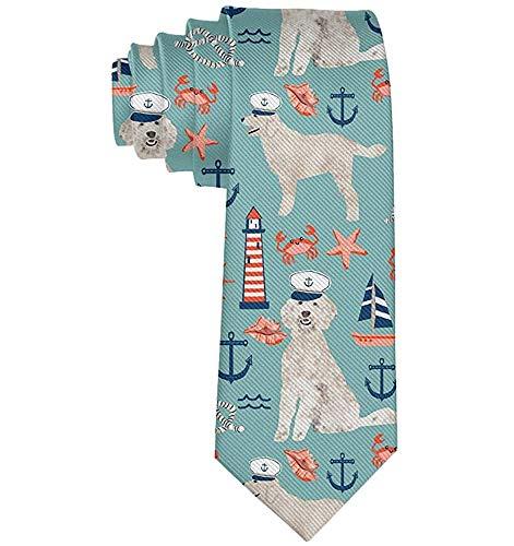 Capitan Golden Doodle náutica perro corbata para hombres corbatas negocios