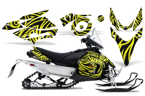CreatorX Graphics Kit Decals Stickers for Yamaha Phazer Rtx Gt Mtx Snowmobile Sled TribalZ Yellow Lite