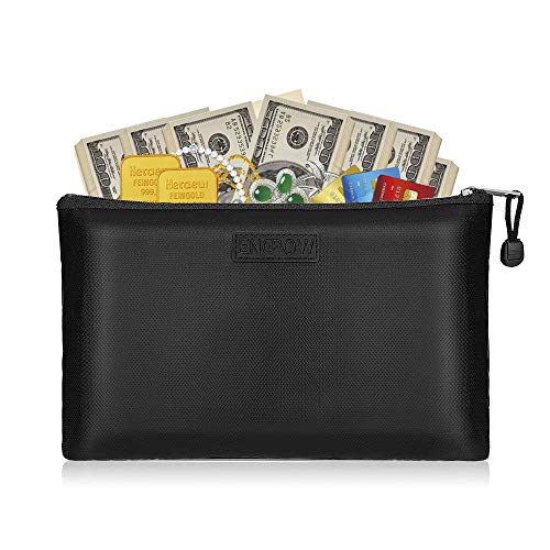 """ENGPOW Fireproof Small Money Bag, 11.4""""×7.9"""" Fireproof Document Bag, Water-Resistant Safe Bag with Zipper for A5 File Holder, Money, Jewelry, Passport"""