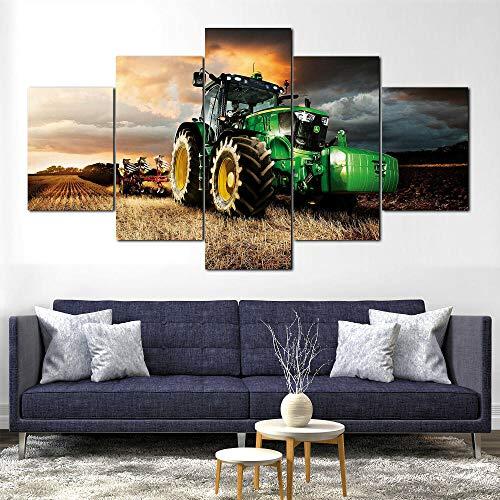 Cuadro sobre Impresión Lienzo 5 Piezas John Deere Tractor cortacésped Agricultura Impresión Artística Imagen Gráfica-5 Piezas-Impresión en Lienzo Listo para Colgar-en un Marco