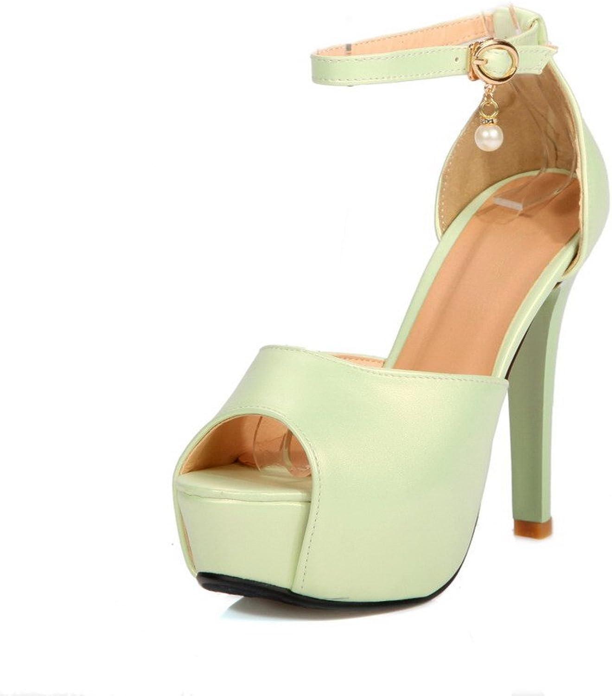 WeiPoot Women's Soft Material Buckle Peep Toe High-Heels Sandals