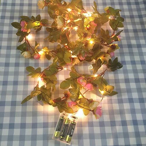 weichuang Partido decoración luces hecho a mano 2.2 m 25 LEDs rosa rosa al aire libre Garland cadena de luz batería operar cobre hadas cadena luces para la decoración de la boda