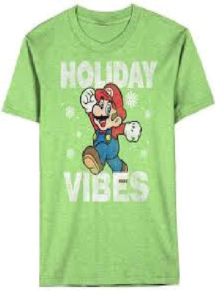 Mario Super Holiday Vibes Green Tee Shirt- Boys Size L (14-16)