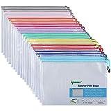30 Pack Dokumententasche A4, Ipow Reißverschlussbeutel Mesh Taschen Set Zipper Beutel für Datei, Papier, Dokumente, Kosmetika und Reiseutensilien