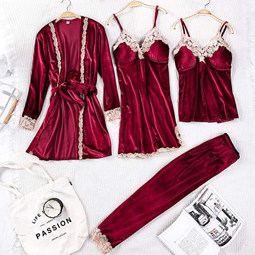 Dames Pyjama,4 Stks Goud Fluwelen Vrouwen Pyjama Sets Met Broek Sexy Lingerie Gewaad Pyjama Nachtkleding Mouwloze Nachtkleding Homewear Pakken