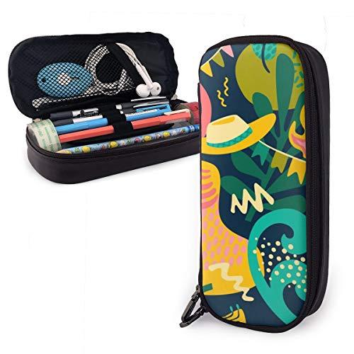 OUYouDeFangA - Bolsa de piel sintética para guardar sombreros de guitarra, bolsa de almacenamiento portátil para estudiantes, lápices, oficina, papelería, bolsa, carteras con cremallera, bolsa multifunción para maquillaje