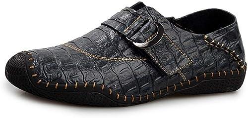 JIALUN-zapatos - Mocasines de Piel con Hebilla de Metal anticolisión para conducción, para Hombre, Estilo Casual, Color azul, Talla 41 EU