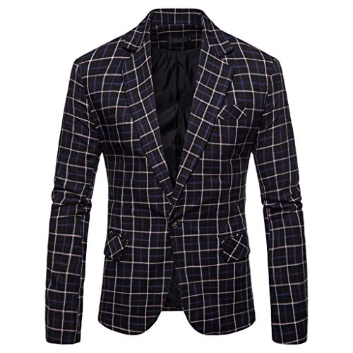 TWISFER Herren Blazer Plaid Sakko Business Hochzeitsanzug Revers Slim Fit Outwear Blazer Coat Outwear Anzuege Party Smoking Outwear Langarm Kostüm Eleganter Cocktail Jacket