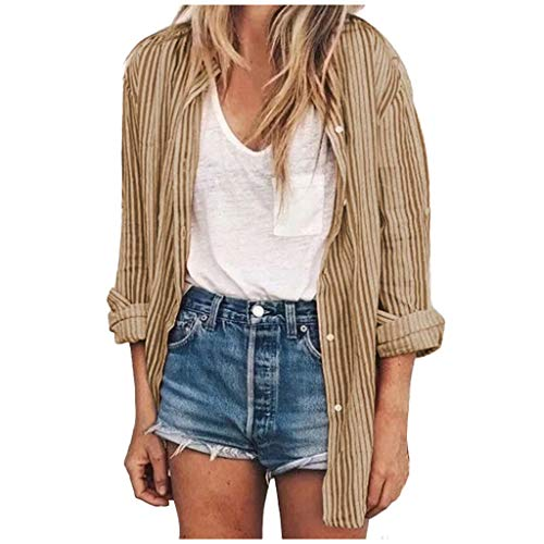 Find Discount NANTE Top Loose Women's Blouse Stripe Stand Collar Button Shirt Long Sleeve Tops Long Shirts Womens Clothes Ladies Clothing (Khaki, M)