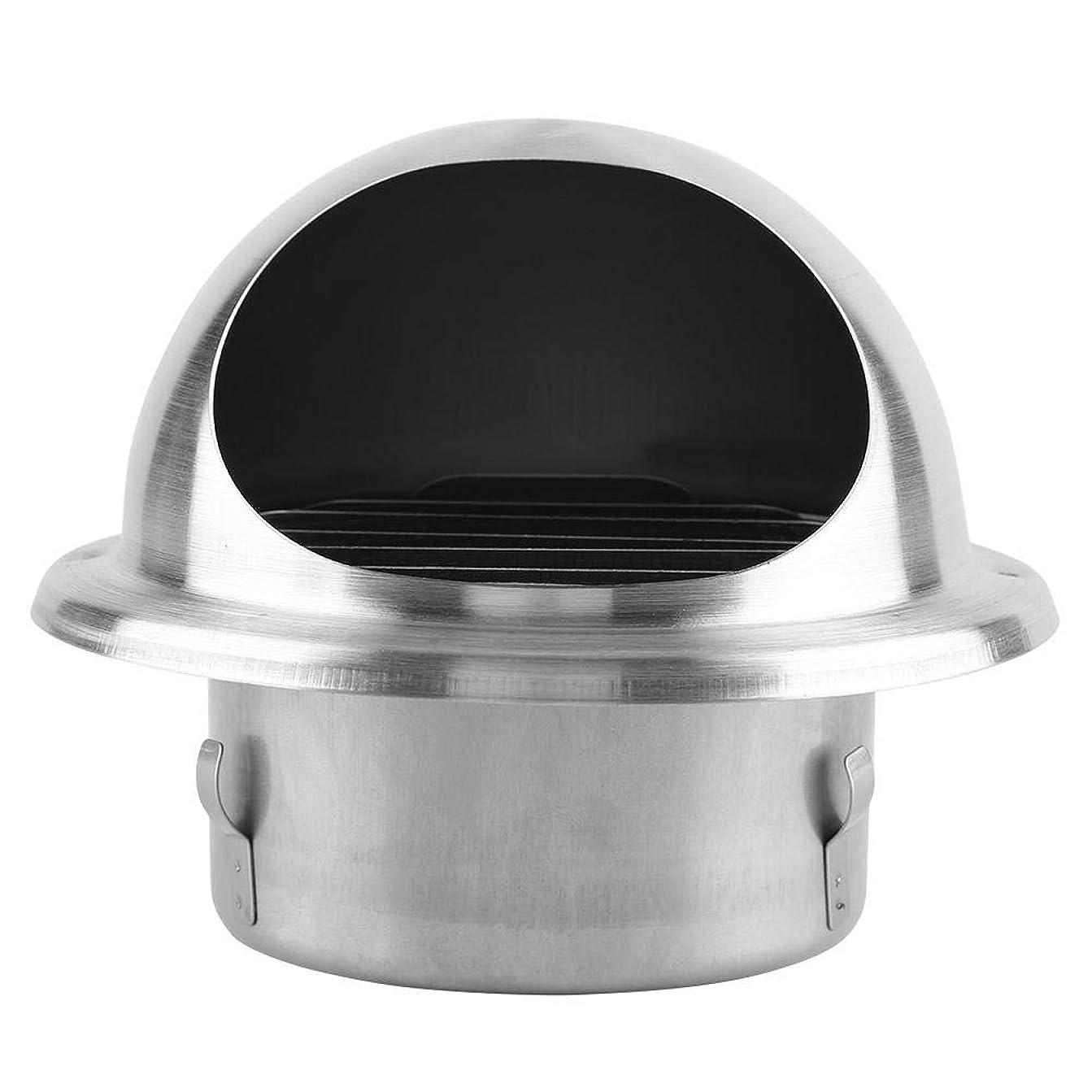既にわかりやすいポジション丸型フード付ガラリ 304ステンレス製 排気口 換気システム ガラリ 通気口 丸型フード付 逆風防止ダンパー付 防虫網付 シルバー