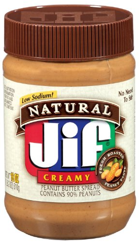 Jif Natural Low Sodium Creamy Peanut Butter Spread 16oz Jar Pack of 6