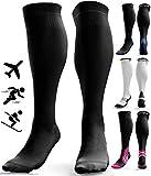 Calcetines de Compresión para Hombres y Mujeres - Medias de Compresion para Deporte - Maratones - Enfermeras - Estrés tibial Interior - Durante Embarazo (XXL (44-49), Negro (sin logotipo))