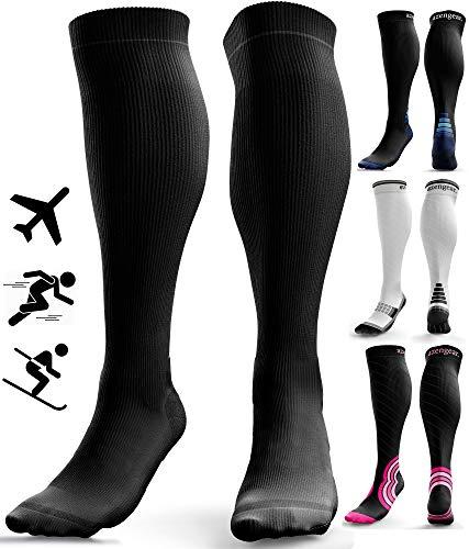 Calcetines de Compresión para Hombres y Mujeres - Medias de Compresion para Deporte - Maratones - Enfermeras - Estrés tibial Interior - Durante Embarazo (L/XL (42-47), Negro (sin logotipo))